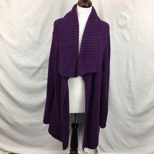 Talbots Purple Plus Size Loose Knit Open Cardigan